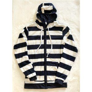 Navy/White Striped Zip Up Hoodie